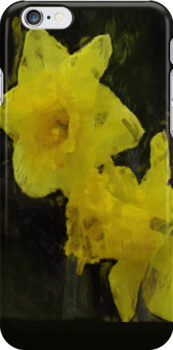 Yellow Daffodils Floral Impressionist Painting by Val  Brackenridge