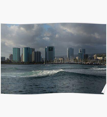 Sailing Into Honolulu, Hawaii Poster
