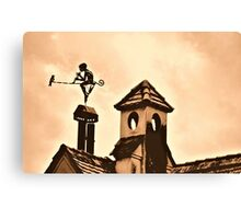 Chimney Ornament with Flutist and Bird Canvas Print