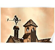 Chimney Ornament with Flutist and Bird Poster