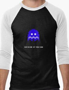 Blue Pac-man Ghost Men's Baseball ¾ T-Shirt
