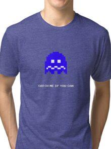 Blue Pac-man Ghost Tri-blend T-Shirt