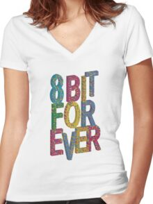 8 bit for ever Women's Fitted V-Neck T-Shirt