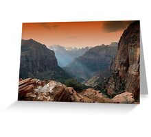 zion park utah mountains landscape scenic sunset Greeting Card