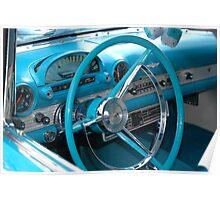 classic car blue classic car interior vintage Poster