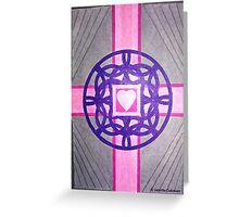 Pink Celtic Heart Cross Greeting Card