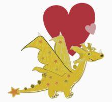Cute Orange Cartoon Dragon with Love Hearts Kids Tee