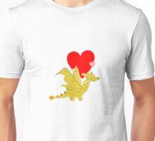 Cute Orange Cartoon Dragon with Love Hearts Unisex T-Shirt