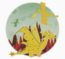 Cute Orange Cartoon Dragons with Star Wings and Tail Kids Tee