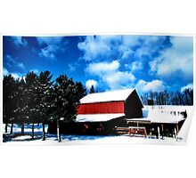 Winter - red barn and blue sky (2013) Poster