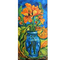 Tulips in Blue Glass With Orange and Garlic Bud Photographic Print