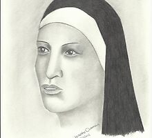 Nun - Pencil Portrait 2 by Janette Oakman
