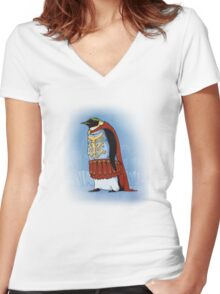 The Majestic Emperor Penguin Women's Fitted V-Neck T-Shirt