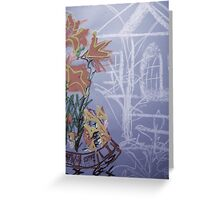 FLOWERS IN THE YARD, fragment Greeting Card