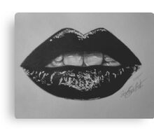 Black and white lips Canvas Print
