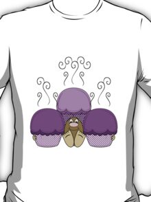 Cute Monster With Purple Frosted Cupcakes T-Shirt