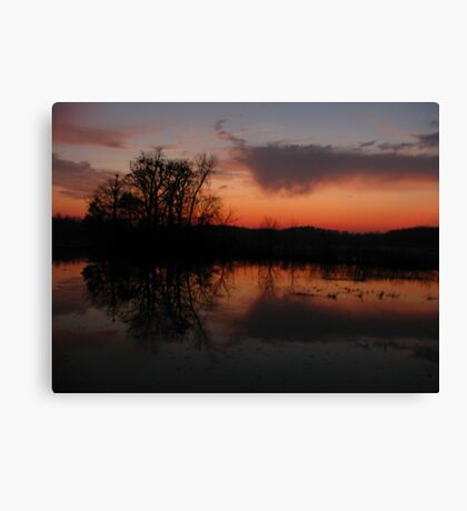 Reflection of sunset clouds Canvas Print