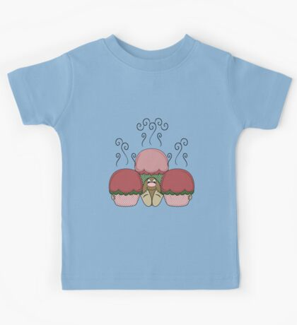 Cute Monster With Red And Green Frosted Cupcakes Kids Tee