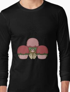 Cute Monster With Red And Green Frosted Cupcakes Long Sleeve T-Shirt