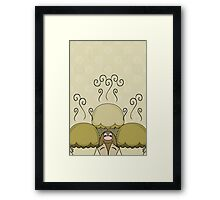 Cute Monster With Yellow Frosted Cupcakes Framed Print