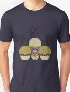 Cute Monster With Yellow And Purple Frosted Cupcakes Unisex T-Shirt