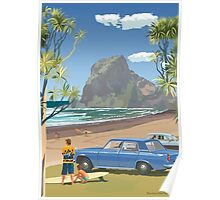 Piha New Zealand with Surfers 1969 Poster