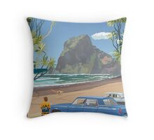 Piha New Zealand with Surfers 1969 Throw Pillow