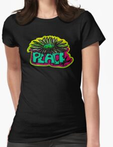 Peace Flower Womens Fitted T-Shirt