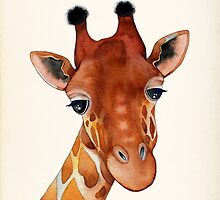 Giraffe Watercolor by Annya Kai