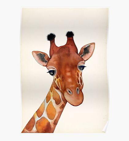 Giraffe Watercolor Poster