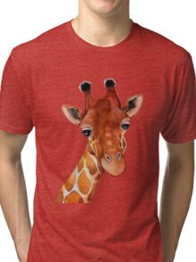Giraffe Watercolor Tri-blend T-Shirt