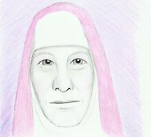 Pink Nun - Pencil Portrait by Janette Oakman