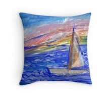 Boat and Rainbow Throw Pillow