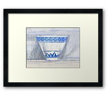 Blue and white cup Framed Print