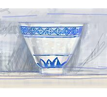 Blue and white cup Photographic Print