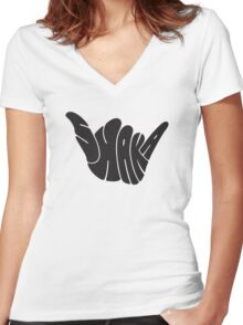 The Shaka - Hang Loose Women's Fitted V-Neck T-Shirt