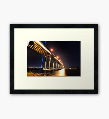 Tasman Bridge Dark MoFo spectra lights  Framed Print
