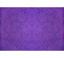 Purple Tones Suade Leather Embossed Floral Pattern Photographic Print