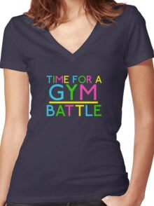 Time For A Gym Battle - Neon Women's Fitted V-Neck T-Shirt