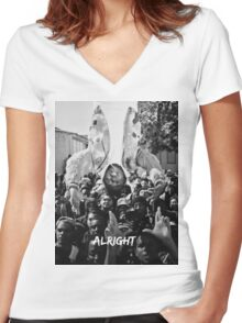 Kendrick Lamar - Alright (Music Video) Women's Fitted V-Neck T-Shirt