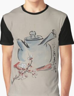 Teapot with cherry or plum blossoms 001 Graphic T-Shirt