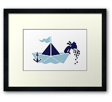 Seasick: Barfing Sailor on a Paper Boat Framed Print