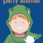 Party Animals Birthday Card (Tea Rex) by Digital Art with a Heart