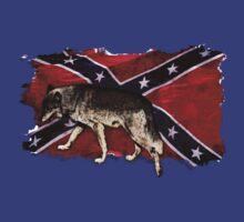 Confederate Flag Grey Wolf Southern Cross US Flag  by Val  Brackenridge
