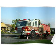 Fire Engine pumping water Poster