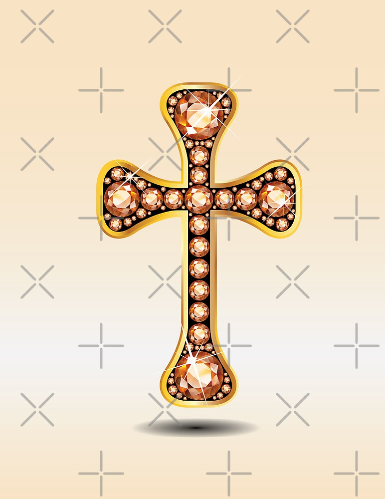 Christian Cross in Gold with Amber or Topaz Stones by Stacey Lynn Payne