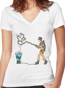 Casper meets The Ghostbusters Women's Fitted V-Neck T-Shirt