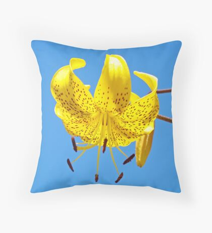Yellow Lily Flowers Art Prints Lilies Blue Sky Summer Throw Pillow