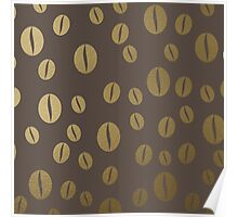 Gold coffee beans pattern Poster