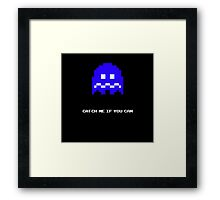 Blue Pac-man Ghost Framed Print
